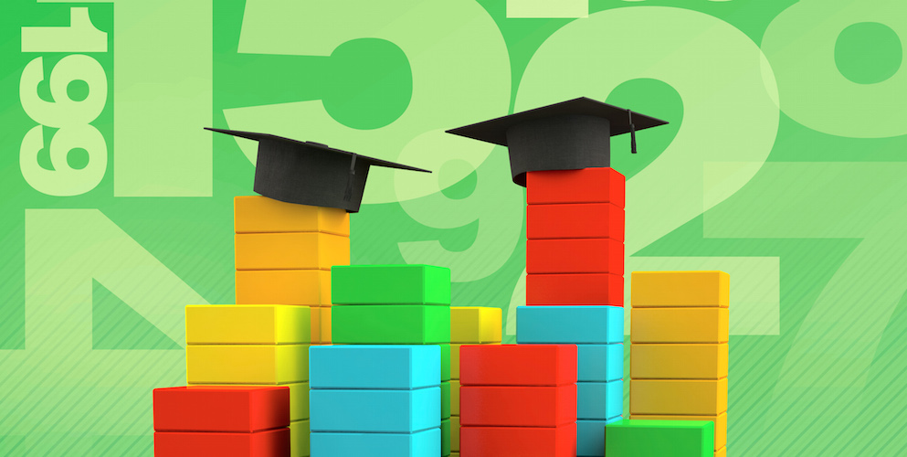 bar graphs with graduation caps on top