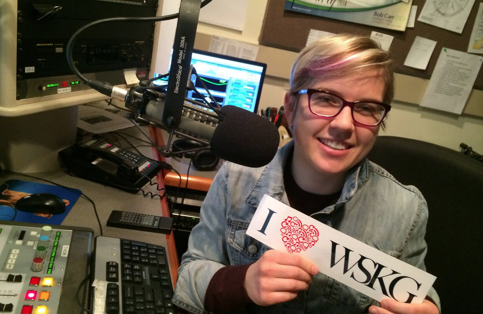 Morning Edition host and reporter Monica Sandreczki shows her love for WSKG!