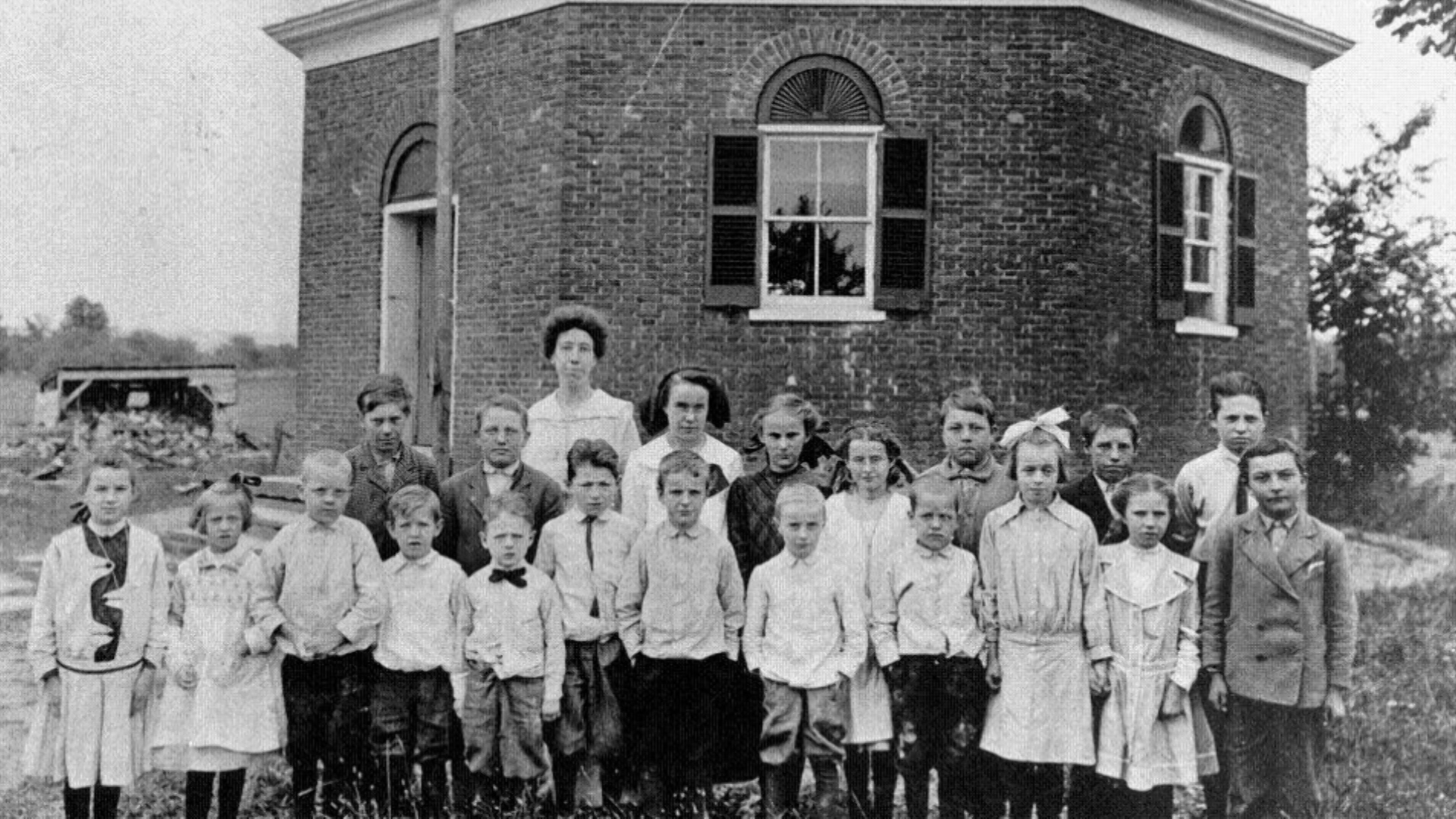 One room school house with Childern