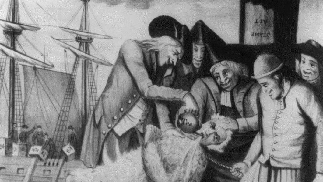 """During the Revolutionary War, many loyalists were treated brutally --€"""" like the tarred and feathered man in this print."""