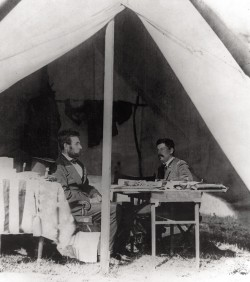 Lincoln and McClellan confer in the generals headquarters tent at Antietam on October 4, 1862.