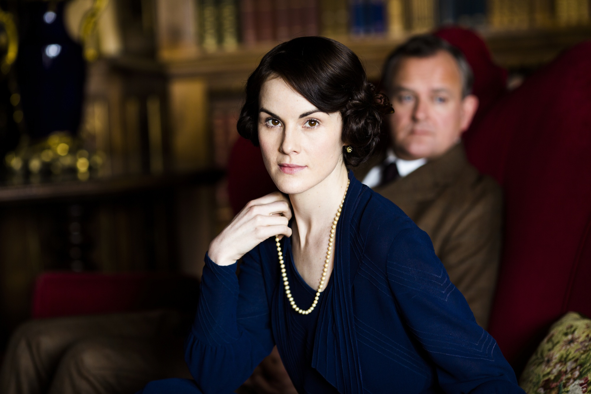 MICHELLE DOCKERY as Lady Mary Crawley and HUGH BONNEVILLE as Robert, Earl of Grantham.