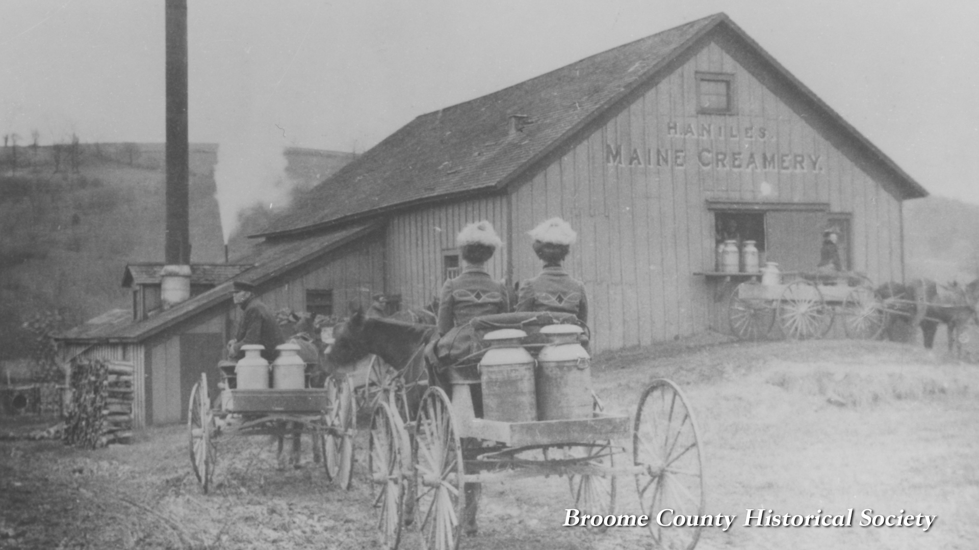 Inah & Inas at Maine creamery in 1905.