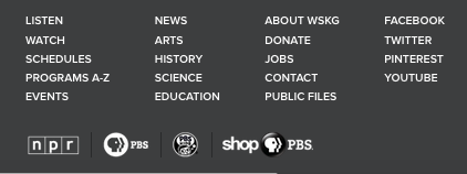 The new WSKG.org footer
