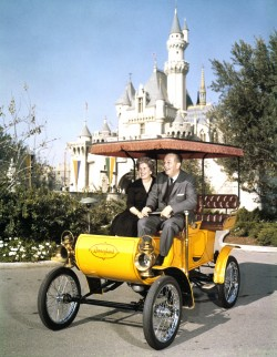 Walt Disney and Wife Riding in Antique Auto at Disneyland