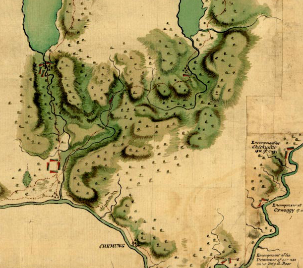 Sullivan Campaign Invasion Map showing Horseheads area