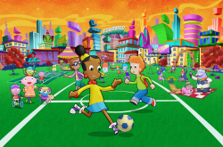 girl character playing soccer
