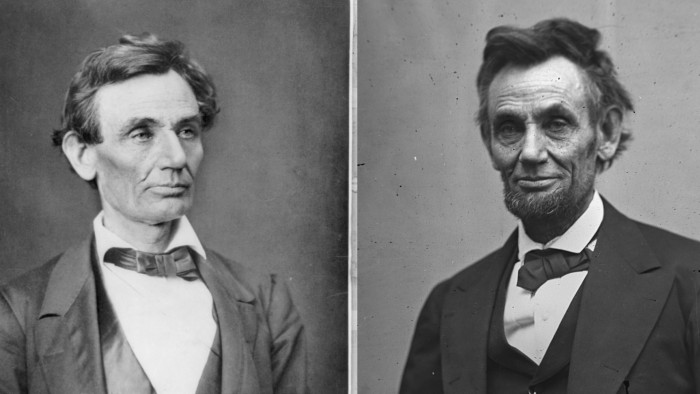 Two Photos of Abraham Lincoln, one from 1860 and the other from 1865.