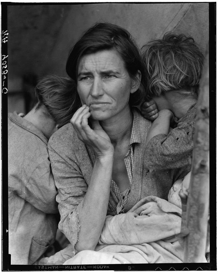 Destitute pea pickers in California. Mother of seven children. Nipomo, California