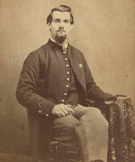 Private Vernon Mosher of Co. F, 97th New York Infantry Regiment, in uniform, amputated hand visible]