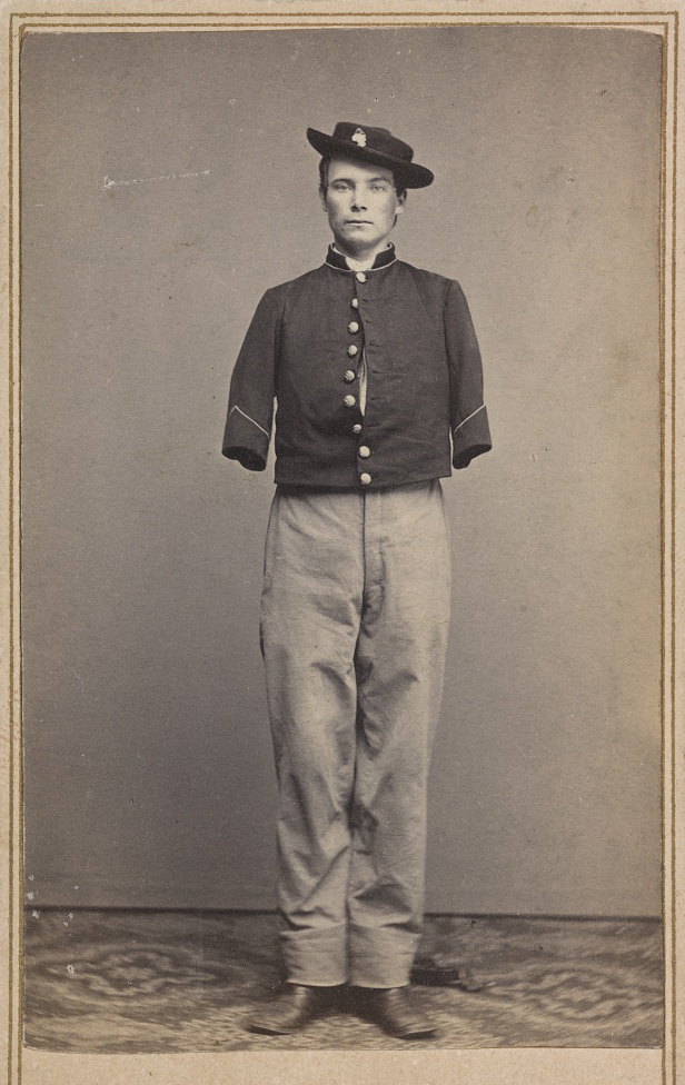 Private William Sergeant of Co. E, 53rd Pennsylvania Infantry Regiment, in uniform, after the amputation of both arms]