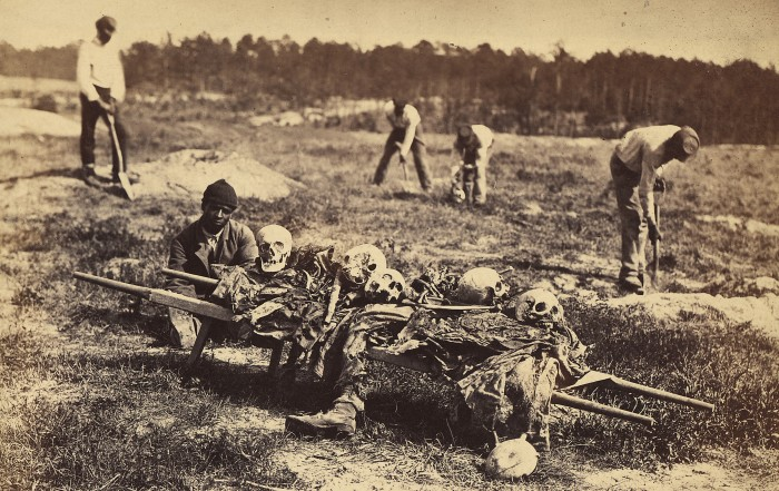A burial party on the Battlefield of Cold Harbor, Virginia.