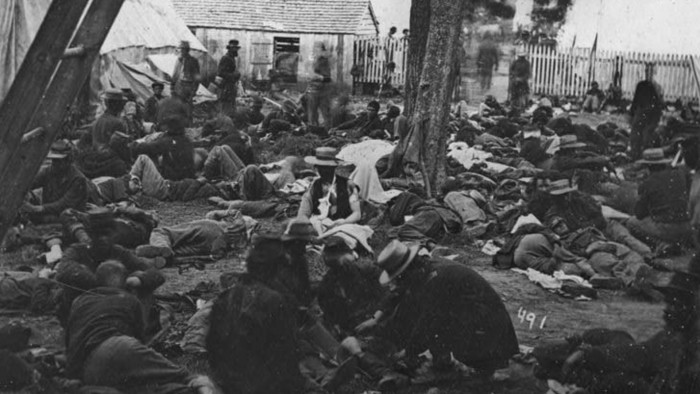 Savage Station, Va. Field hospital after the battle of June 27. Library of Congress.