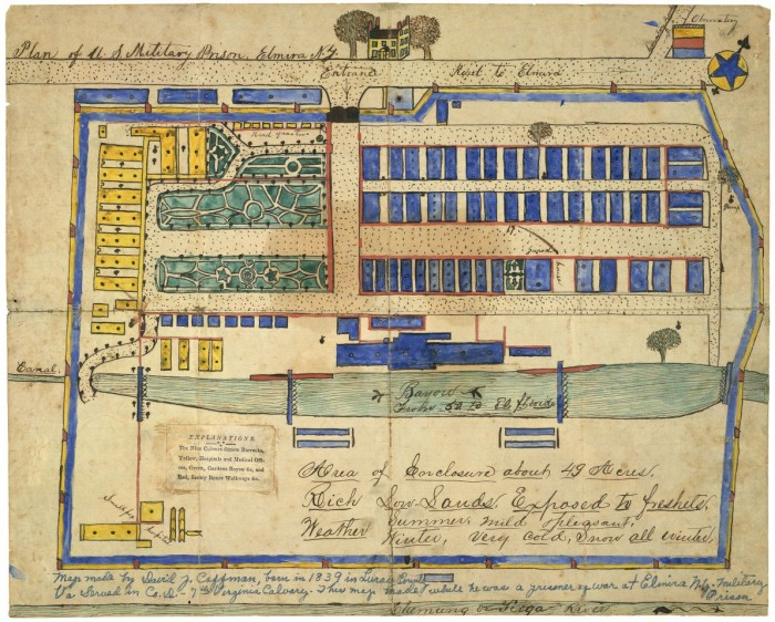 Plan of U.S. military prison, Elmira, N.Y. Library of Congress