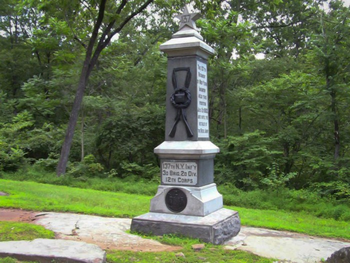 Marker for the 137th on Culp's Hill.