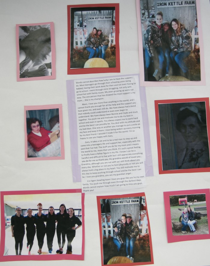 poster with photos of family and friends