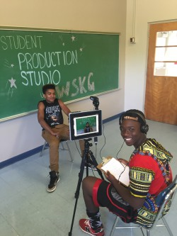 students recording an interview