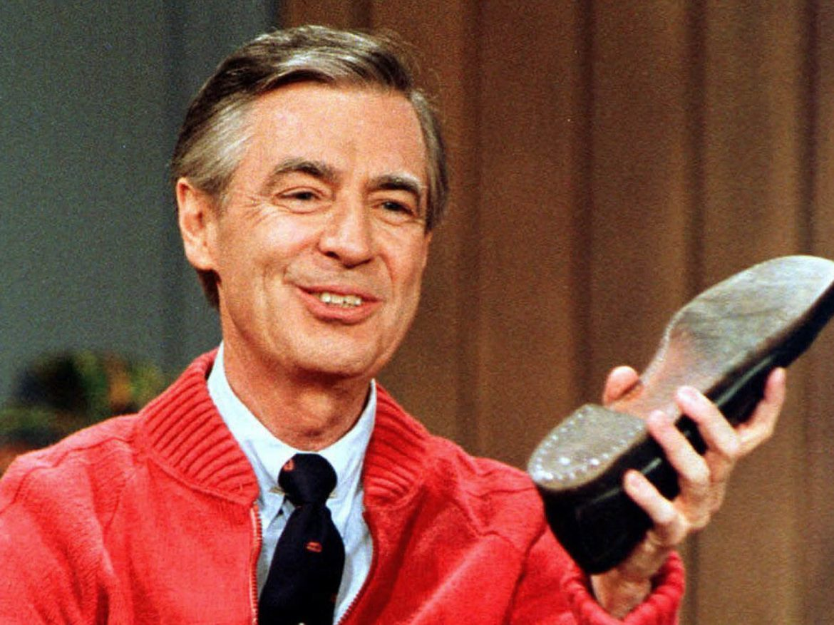 Fred Rogers rehearses the opening of his PBS show Mister Rogers' Neighborhood, which premiered Feb. 19, 1968.