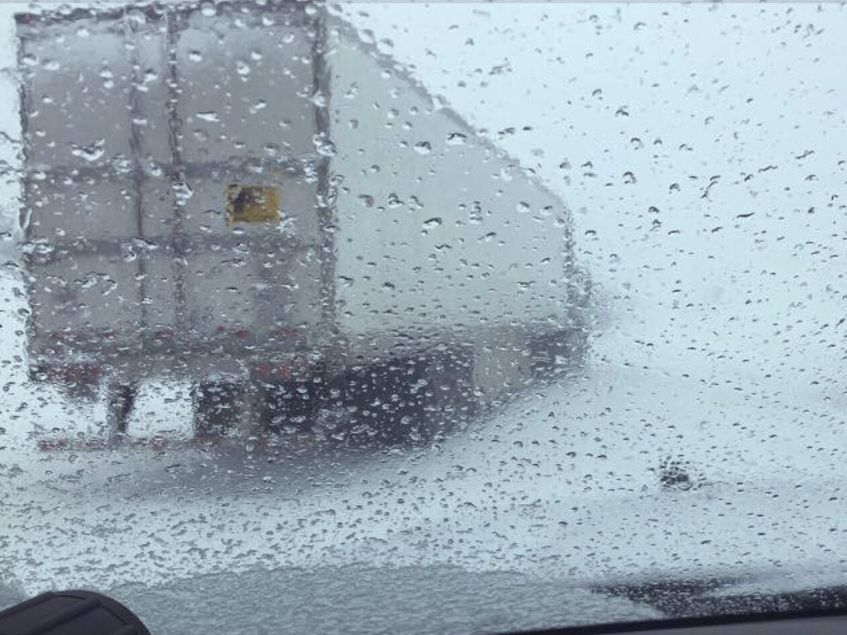 In this image from a dashboard camera provided by the California Highway Patrol is a closed section of Interstate 80 at Donner Summit on Thursday, near Truckee, Calif.