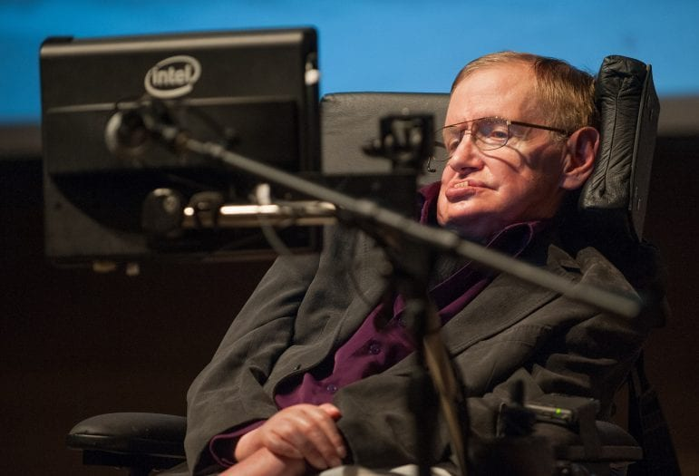 "Hawking gives a talk titled ""A Brief History of Mine"" to workers at Cedars-Sinai Medical Center in Los Angeles on April 9, 2013."