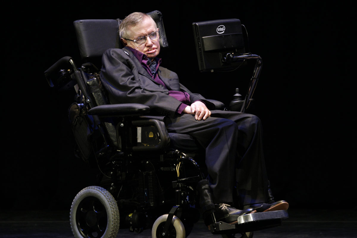 Hawking appears in Seattle on June 16, 2012, while he was taking part in the Seattle Science Festival Luminaries Series.