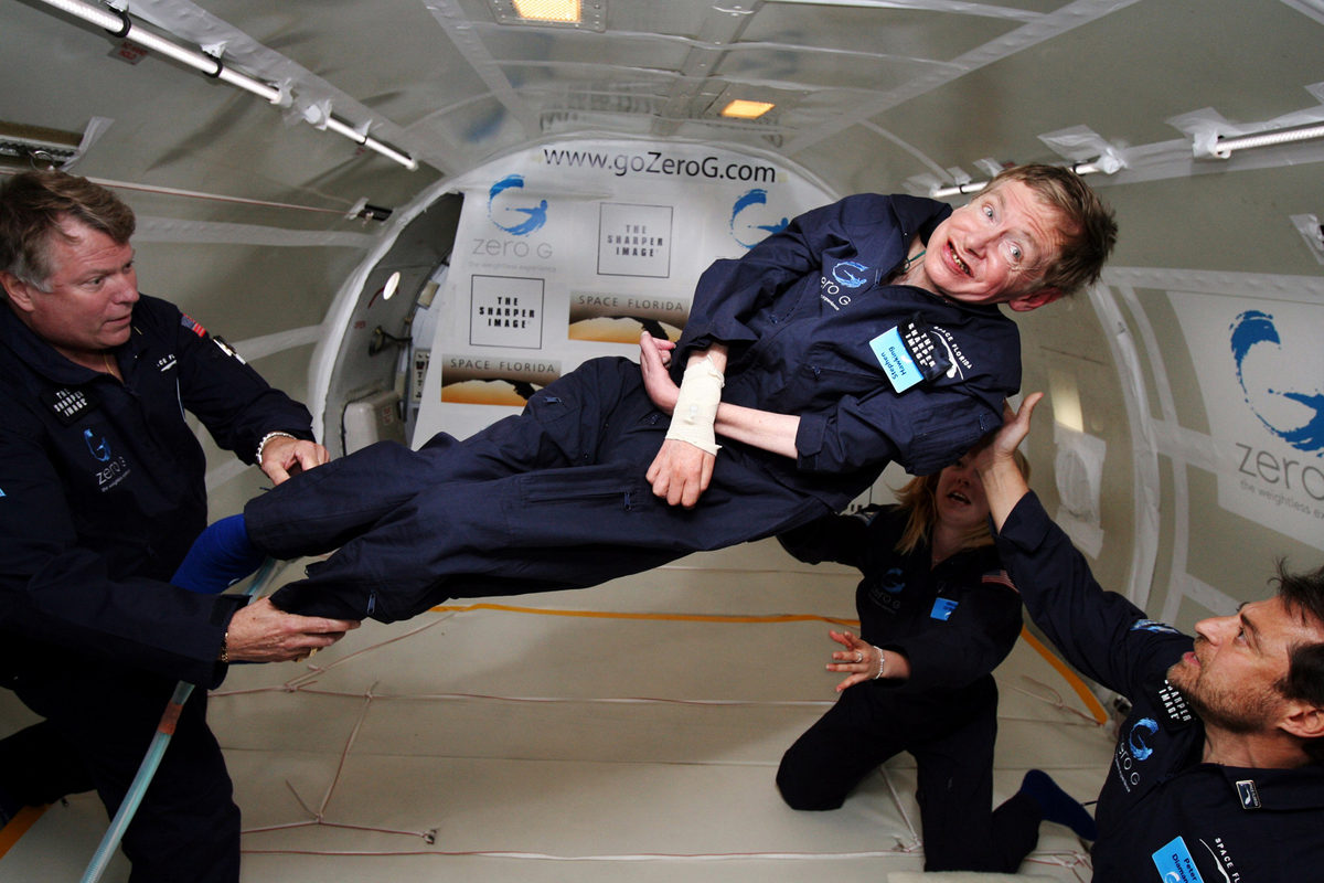 In this photo provided by Zero Gravity Corp., Hawking floats on a zero-gravity jet on April 26, 2007. The modified jet carrying Hawking, some of his physicians and nurses, and dozens of others first flew up to 24,000 feet over the Atlantic Ocean off Florida and then dove down, allowing the passengers to experience zero gravity.
