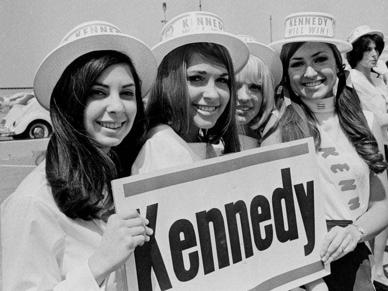 A group of Robert F. Kennedy supporters 1968 in Los Angeles.