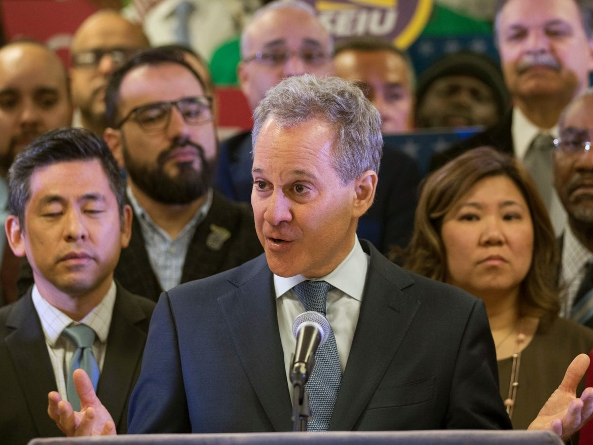 New York Attorney General Attorney General Eric Schneiderman speaks during a news conference in New York last month. He has resigned amid allegations that he physically abused four women with whom he was in relationships.
