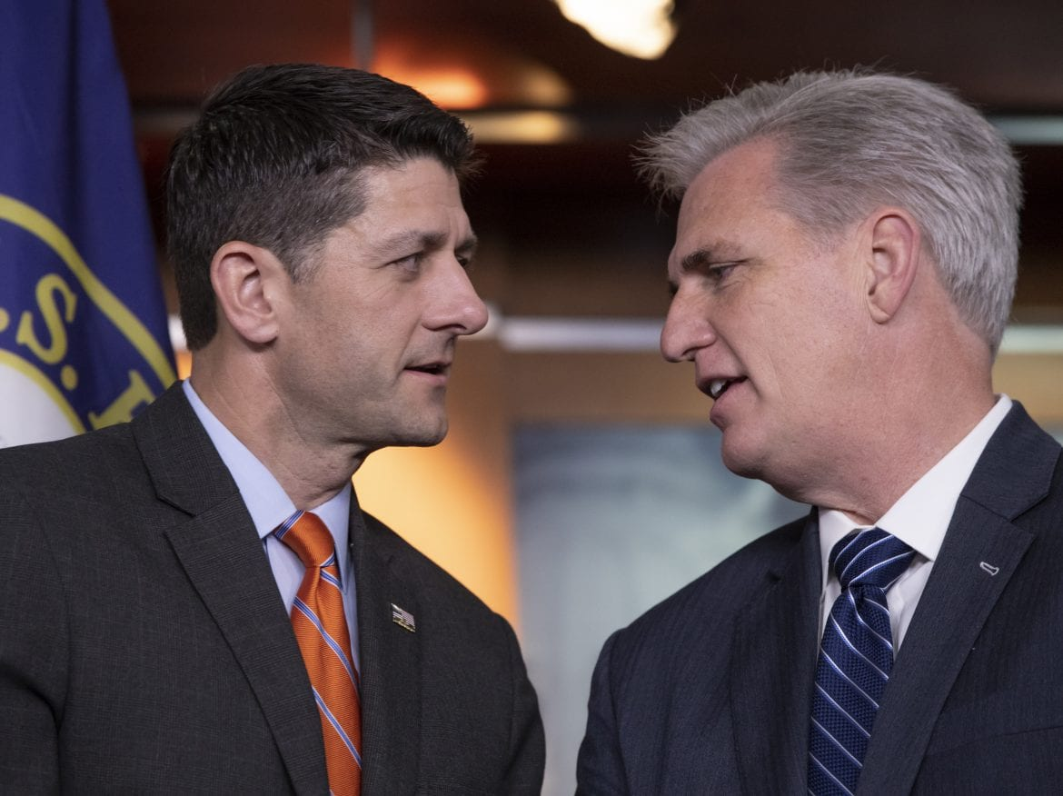 Speaker of the House Paul Ryan (left) confers with House Majority Leader Kevin McCarthy during a May 16 news conference.