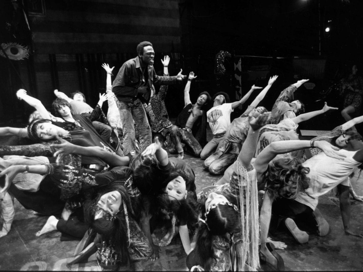 Actors rehearse a dance scene for the 1968 London production of the musical Hair.