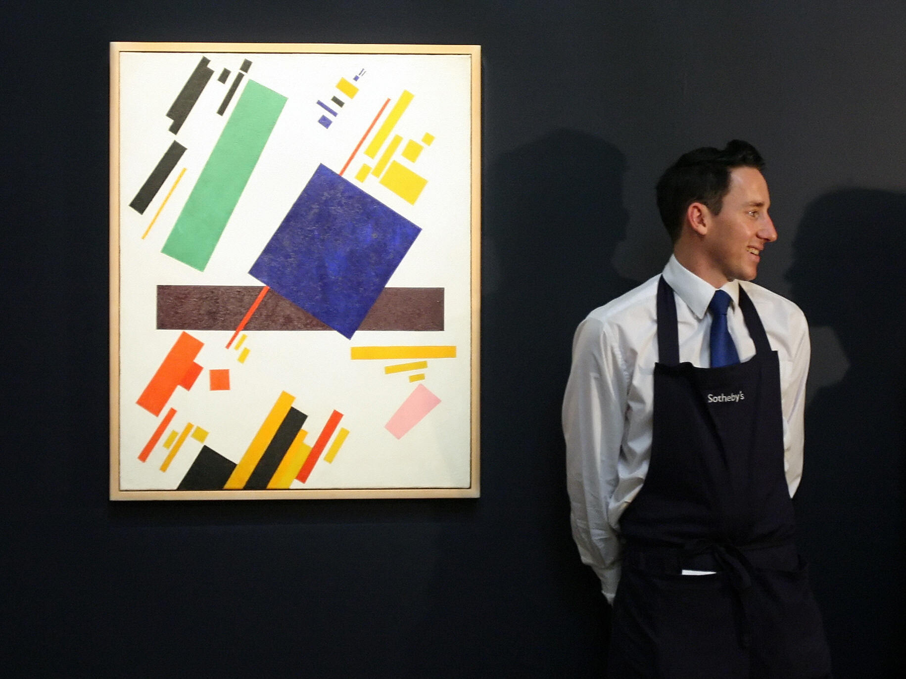 Suprematist Composition by Kazimir Malevich is displayed at the Sotheby's auction house in London in 2008. it set a record for the artist this month, selling at a Christie's New York auction for $86 million.