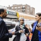 A May 2016 photo provided by the Alexandria Ocasio-Cortez campaign shows the candidate during a Bengali community outreach in New York.