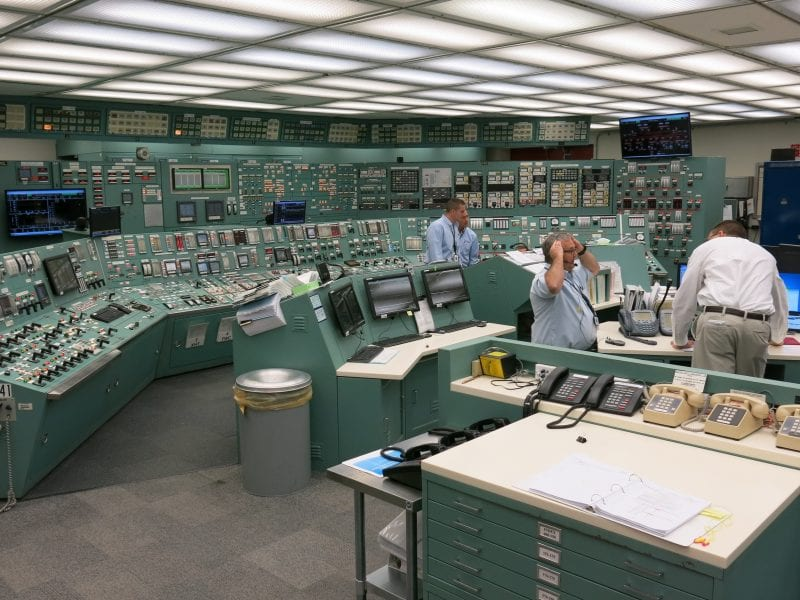 The control room at Three Mile Island Unit 1 is like stepping back in time. Except for a few digital screens and new counters much of the equipment is original to when the plant began generating electricity in 1974.