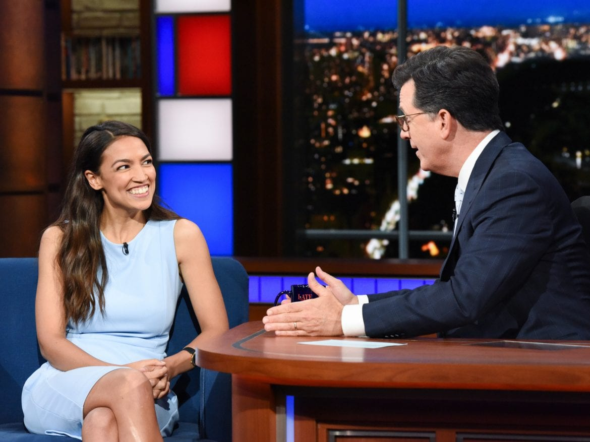 Alexandria Ocasio-Cortez appears on The Late Show with Stephen Colbert in June.