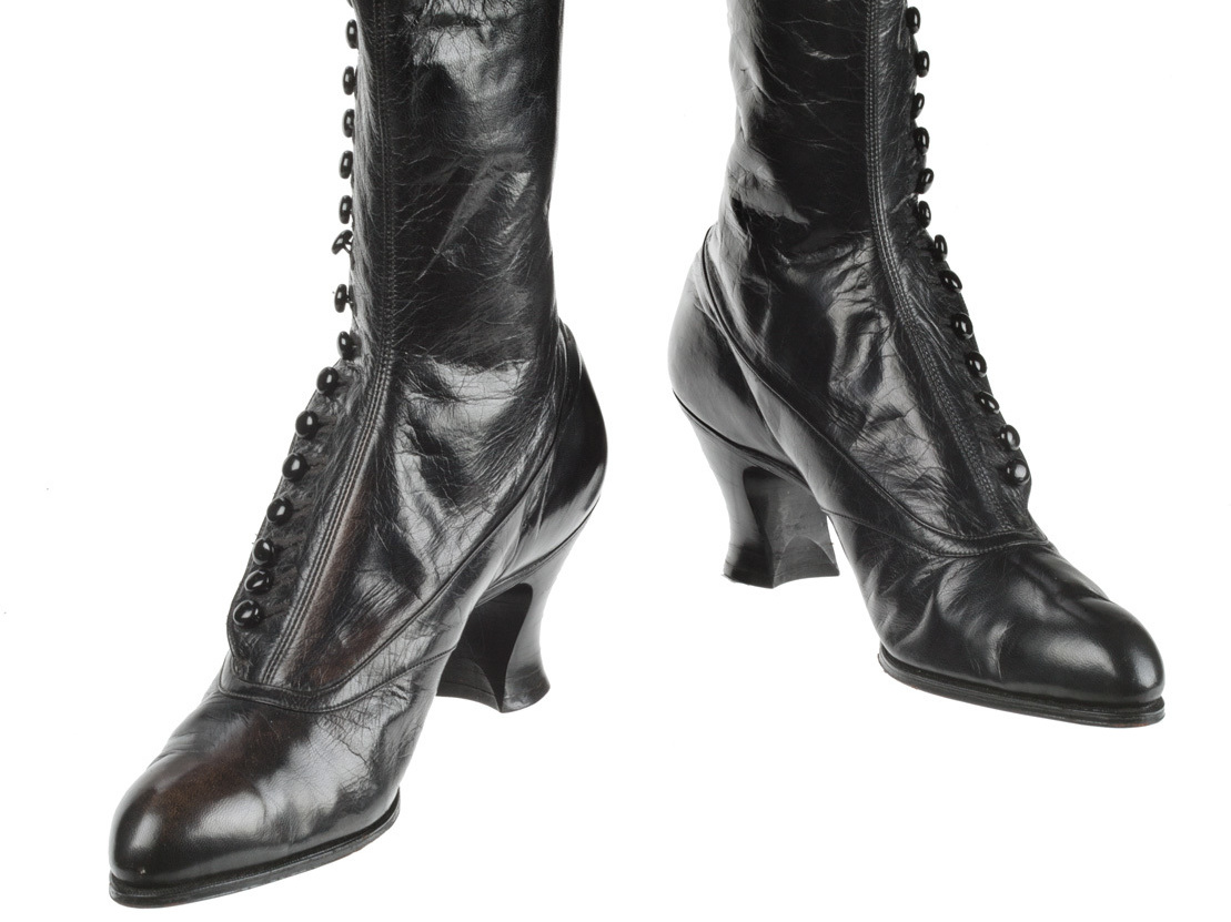 Suffragists wore this type of button-up boot, circa 1918.