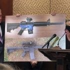"""Sens. Edward Markey, D-Mass., left, and Richard Blumenthal, D-Ct., display a photo of a plastic gun Tuesday, as they call for President Trump to reverse an administration decision to allow a Texas company to make blueprints for a 3D-printed gun available online. Trump announced over Twitter that he is """"looking into"""" the sale of 3D plastic guns to the public."""