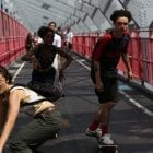 In Skate Kitchen, the introverted Camille (played by Rachelle Vinberg, left) finds her tribe of skaters in New York City.