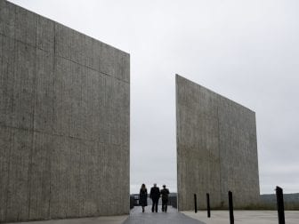 President Trump walks with  Melania Trump and National Parks and National Parks superintendent Stephen Clark through the Flight 93 National Memorial in Shanksville, Pa., on Tuesday.