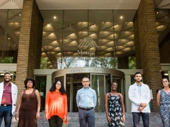 Students and administrators at the Icahn School of Medicine are working to fight racial disparities at their school. (Left to right: Masrai Williams, Michelle Sainté, Giselle Lynch,  Dr. David Muller, Eziwoma Alibo, Michael Espino, and Shashi Anand.)