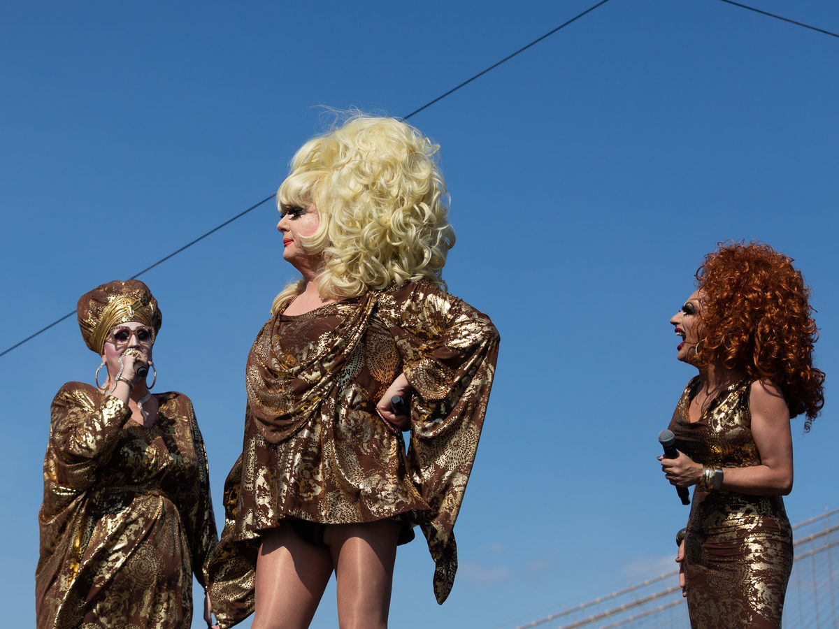 """Sherry Vine (from left), Jackie Beat, Lady Bunny and Bianca Del Rio open up the show. """"To be here now is quite fun,"""" Del Rio said. """"I remember as a young child, I had a videotape of Wigstock."""""""