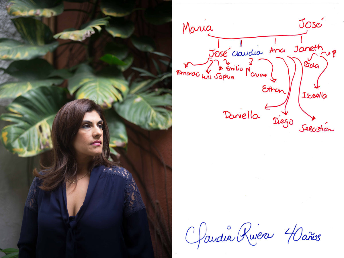 A portrait of Claudia Rivera, left, and a hand-written diagram of her family tree. The names in red indicate family members who live in the United States, and those in blue live in El Salvador. Rivera, a doctor, once lived in the U.S., too. She and her family immigrated there in 1983 to escape the civil war. After many years, she decided to return to El Salvador.