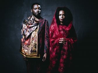 James Jean and Patrice Worthy, photographed in New York City. They model clothing by Ikiré Jones.