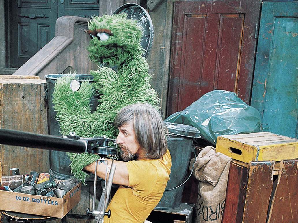Spinney with Oscar the Grouch on the set of Sesame Street.