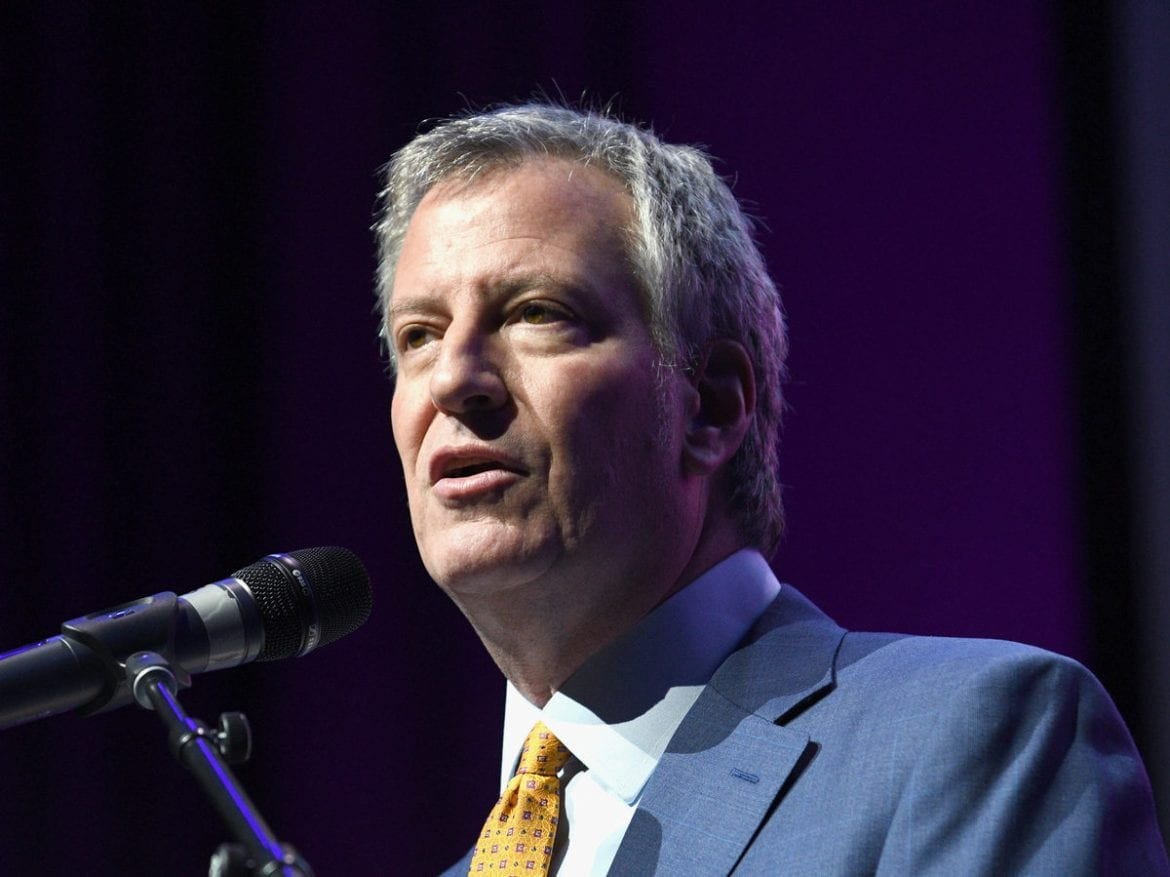 New York City Mayor Bill de Blasio speaks in 2017. The mayor signed a provision into a law on Tuesday that allows people born in New York City who do not identify as male or female to change their birth certificate sex to a third-category of X.