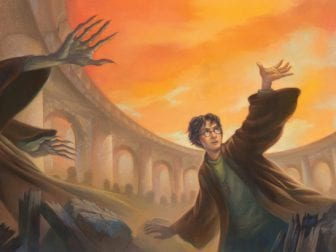 In the jacket art for Harry Potter and the Deathly Hallows, Harry faces off against Voldemort. It's among the items on display in a new exhibit at the New-York Historical Society.