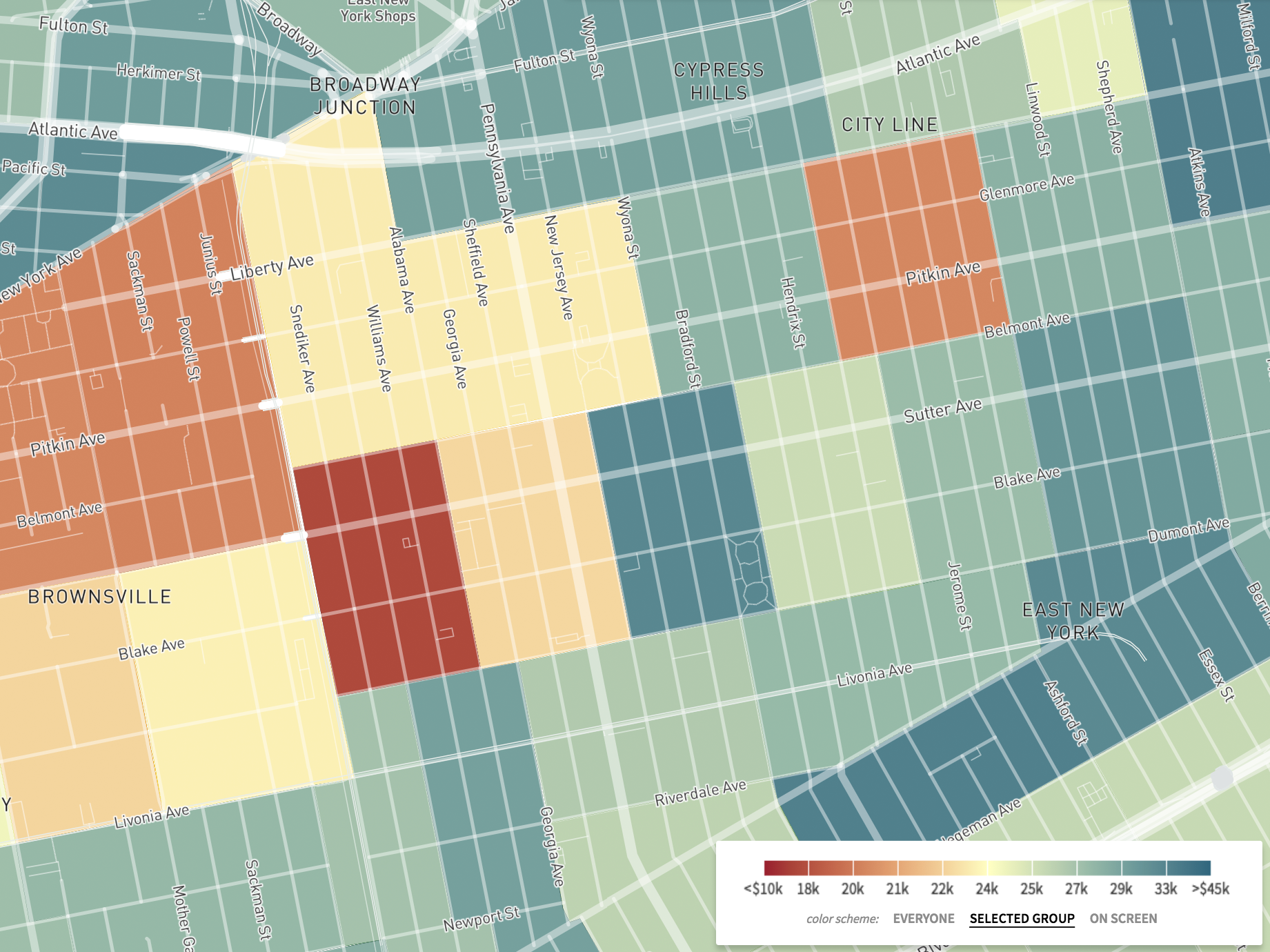 This map, a screenshot from The Opportunity Atlas, shows household income in 2014-2015 for African-Americans born between 1978 and 1983 to low-income parents.