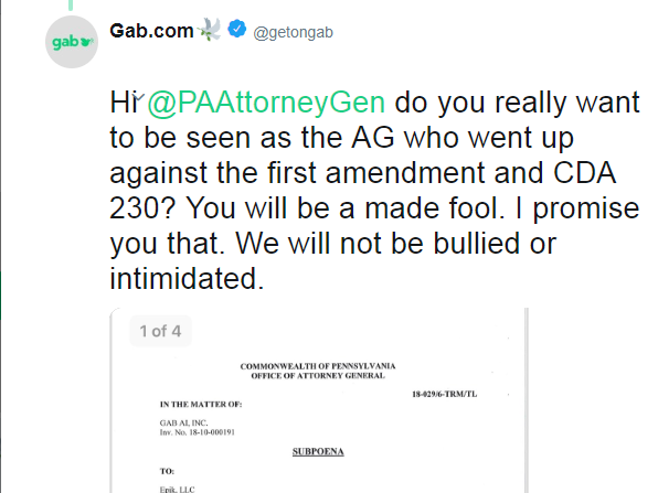 On Wednesday, Gab tweeted a screenshot of the subpoena. But they later deleted the tweet.