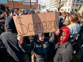 "Protesters gather in Long Island City to say ""no"" to the Amazon ""HQ2"" decision to establish part of its second headquarters in the New York City neighborhood."