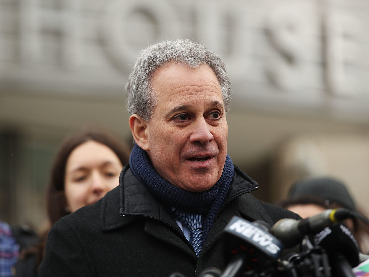 Then-New York Attorney General Eric Schneiderman speaks at a news conference on Jan. 30. Schneiderman resigned after multiple women accused him of physical abuse; a prosecutor announced Thursday that Schneiderman will not be facing criminal charges in connection with the case.