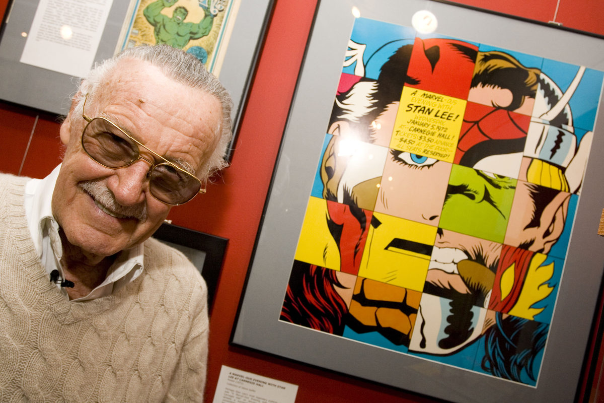 """Comic book legend Stan Lee poses at the opening reception for """"Stan Lee: A Retrospective"""" presented by the Museum of Comic and Cartoon Art on Feb. 23, 2007, in New York City."""